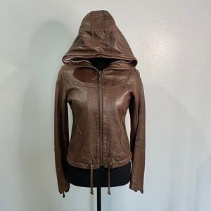 Doma | Brown Leather Hoodie Small